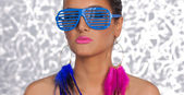 Trash Girl Pink blue streak glasses — Stock Photo