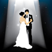 Newly married couple silhouette — Stock Vector