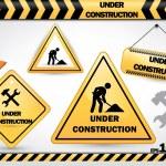 raccolta di sotto i segni di costruzione — Vettoriale Stock