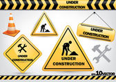 Collection of under construction signs — Stock Vector