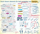 Elementos de corrección de texto — Vector de stock