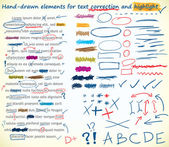 Text-korrektur-elemente — Stockvektor