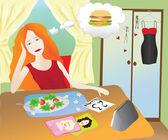 Girl eating healthy food — Stock Vector