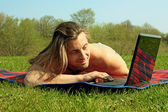 Man with laptop — Stock fotografie