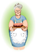 Grandmother with a pie — Stockvector