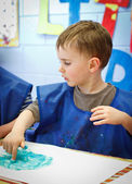 Boy in preschool — Stockfoto