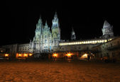 Santiago Cathedral at night — Stock Photo