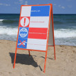 Danger sign at the sea. — Stock Photo