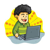 Boy Playing Laptop — Stock Vector