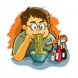 Man Eating Noodles — Stock Vector