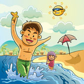 Kids Playing on The Beach — Stock Vector