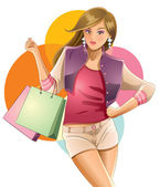 Pretty Girl Love Shopping — Stock Vector