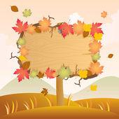 Autumn Wood Signage — Stock Vector