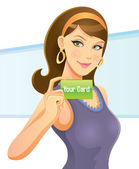 Pretty Girl Holding Card — Stock Vector
