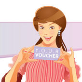 Pretty Girl Holding Voucher — Stock Vector