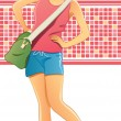 Stock Vector: Traveling Girl with Bag