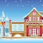 Santa House and Ice Castle — Stock Vector