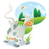 牛イラスト漫画 — ストックベクタ