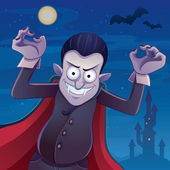 Dracula Cartoon Illustration — Stock Vector
