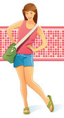 Traveling Girl with Bag — Stock Vector