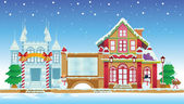 Santa House and Ice Castle — Stock Vector