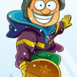 Boy Playing Snowboard - Stock Vector