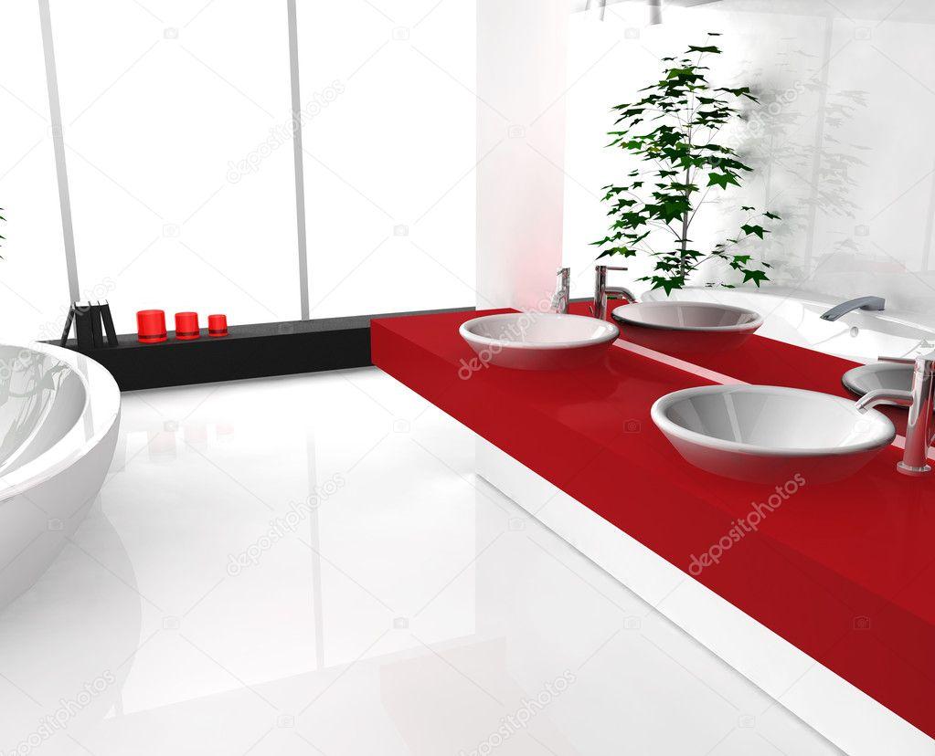 Luxueuse salle de bain rouge — photographie nirodesign © #7455013