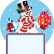 Royalty-Free Stock Vector Image: Blank sign. Snowman with gift