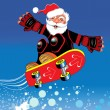Stock Vector: SantClaus on skateboard