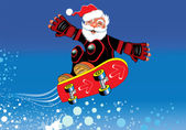 Santa Claus on a skateboard — Stock Vector