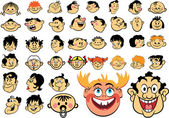 Faces. Cartoon expressions and emotions, avatar icons — Stock Vector