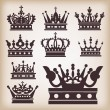 Crown. Set of isolated symbols — Image vectorielle