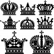 Crown. Set of isolated symbols — Stock vektor