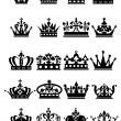 Crown. Large Set of isolated symbols — Stock Vector