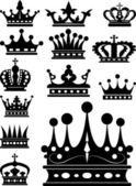 Crown. Set of isolated symbols — Stok Vektör
