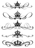 Victorian Scrolls and crown — Stock Vector