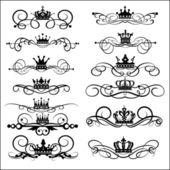 Victoria verilirse ve taç. dekoratif elemanlar. vintage — Stok Vektör