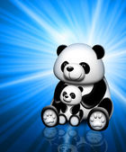Panda on a blue background — Stock Photo
