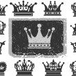 Crown. Set of isolated symbols — Stockvectorbeeld
