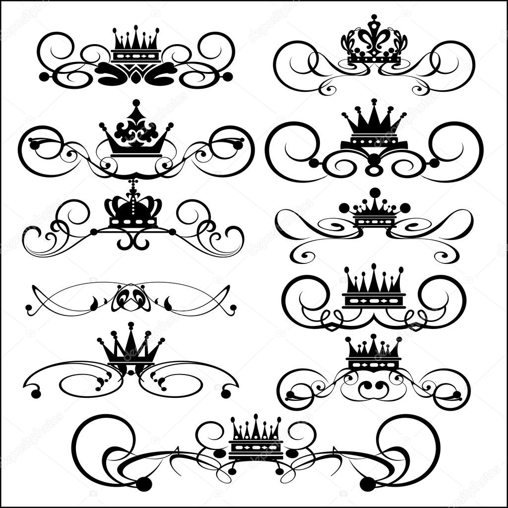 Victorian Scrolls and crown. Decorative elements. Vintage for your design — Stock Vector #7490281