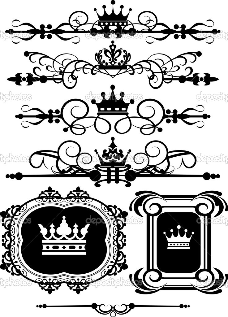 Victorian Scrolls and crown. Decorative elements. Vintage for your design — Stock Vector #7490458