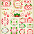 Stock Vector: Christmas. Calligraphy. Set of vintage frames.