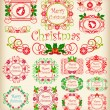 Christmas. Calligraphy. Set of vintage frames. — Stock Vector