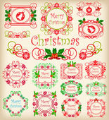 Christmas. Calligraphy. Set of vintage frames. — Stock Vector