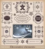 Christmas retro. Calligraphy. Set of vintage frames — Stock Vector