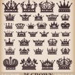 Crown. Vector set. Collection icons - Stok Vektr
