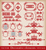 Vector set. Decorative elements. Vintage. Calligraphy. — Stock Vector