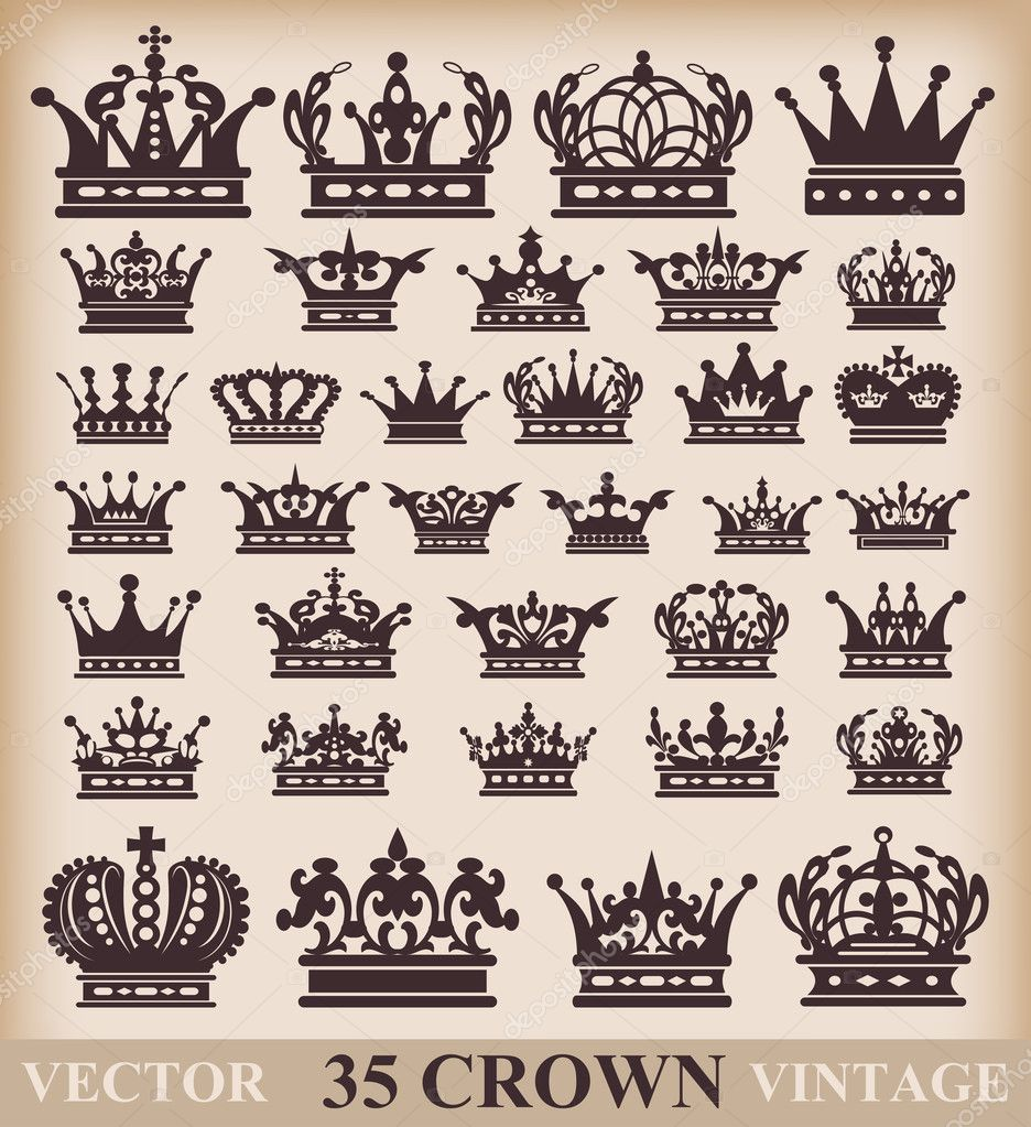 Crown. Vector set. Collection icons for your design — Stockvectorbeeld #7617572