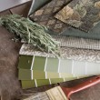 Stock Photo: Earthy green interior decoration plan