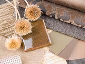 Earthy brownish interior design plan — Stock Photo